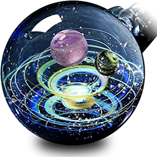 Pavaruni Original Galaxy Pendant Necklace, Universe Glass, Space Cosmos Design,Birthday Art Japan Handmade Craftsman