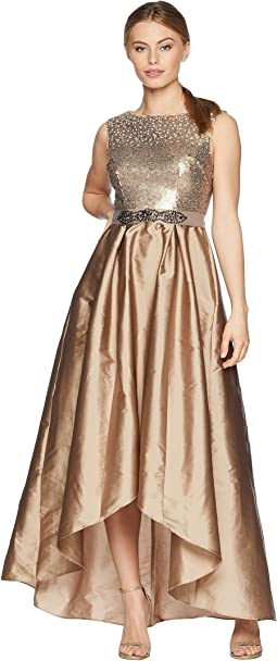 Petite Cap Sleeve Ombre Sequin Bodice with High-Low Taffeta Skirt