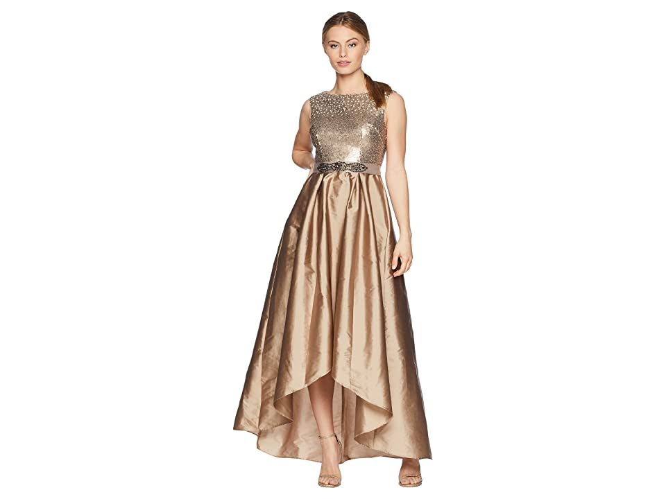 Adrianna Papell Petite Cap Sleeve Ombre Sequin Bodice with High-Low Taffeta Skirt (Antique Bronze) Women