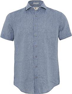Thomas Maine Men's Tailored Fit Linen Short Sleeve Roma Shirt Blue