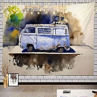 Batmerry Watercolor Retro Hippie Tapestry, Watercolor Retro Bus Drawn Volkswagen Hippie Van Picnic Mat Hippie Trippy Tapes...