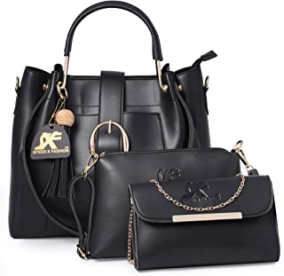 Speed X Fashion Women's Handbag (Set of 3) (FND-012H4_Black)