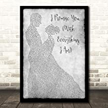 I Promise You (with Everything I Am) Man Lady Dancing Grey Song Lyric Wall Art Poster Gift Present Print