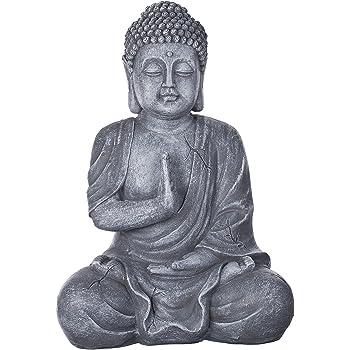 Buda b4017 piedra gris, para interior y exterior, Figura de Buda XL 43 cm de alto,