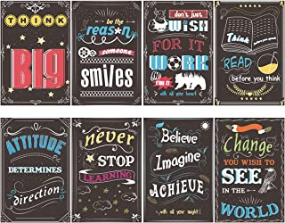Apipi 8Pcs Classroom Chalkboard Motivational Posters-Inspirational Quotes Posters-Large Wall Art for Students Teachers Counselors Principals School, Home, Office, Library Decorations (12 × 8 inches)