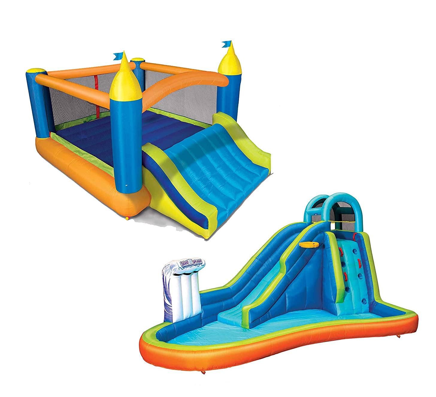BANZAI Deluxe 2 in 1 Surf 'N Splash Water Park and Slide 'N Bounce House Combo