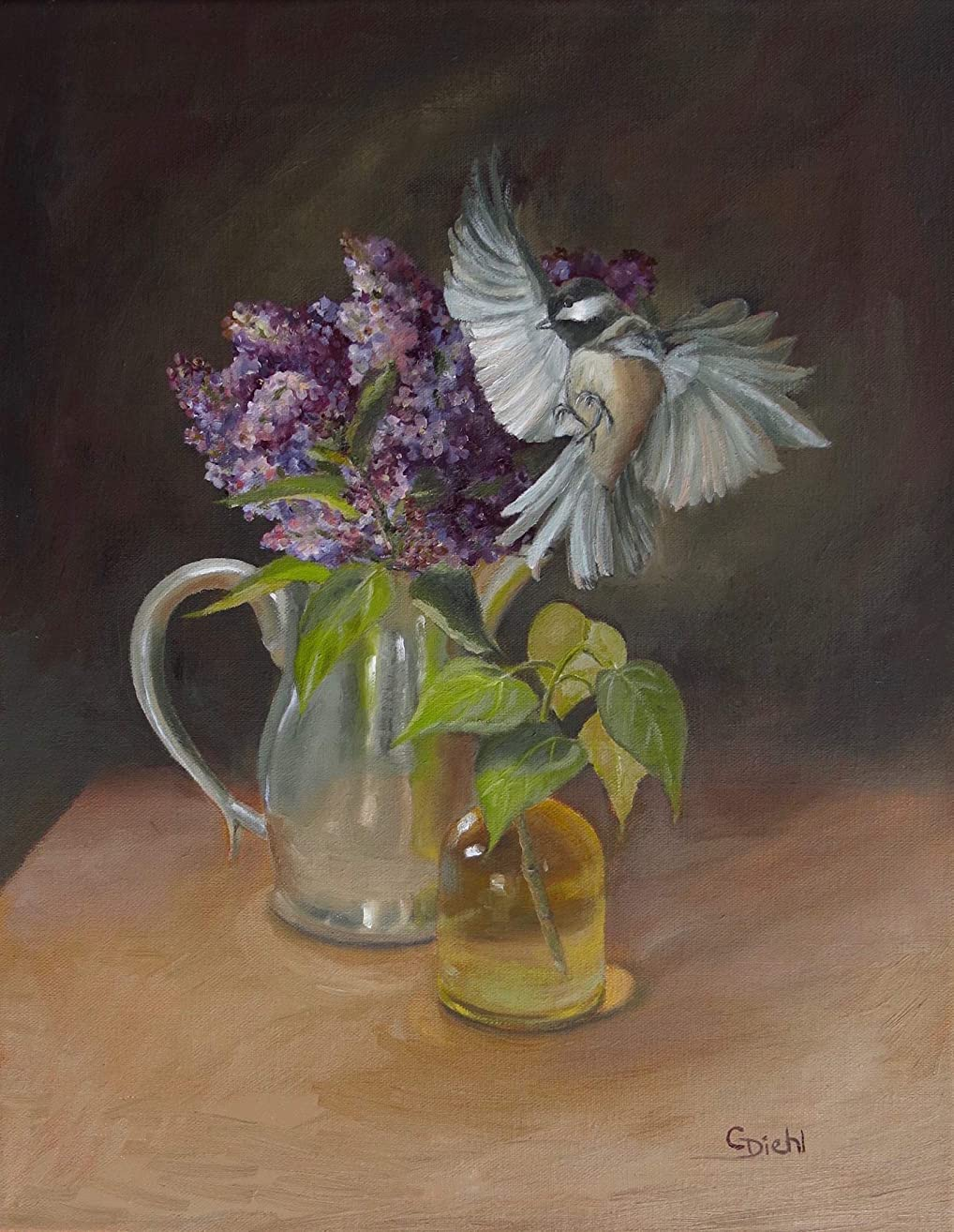 Bird with Garden Floral and Pewter Still Life Wall Decor Fine Art Original (NOT a print) 11