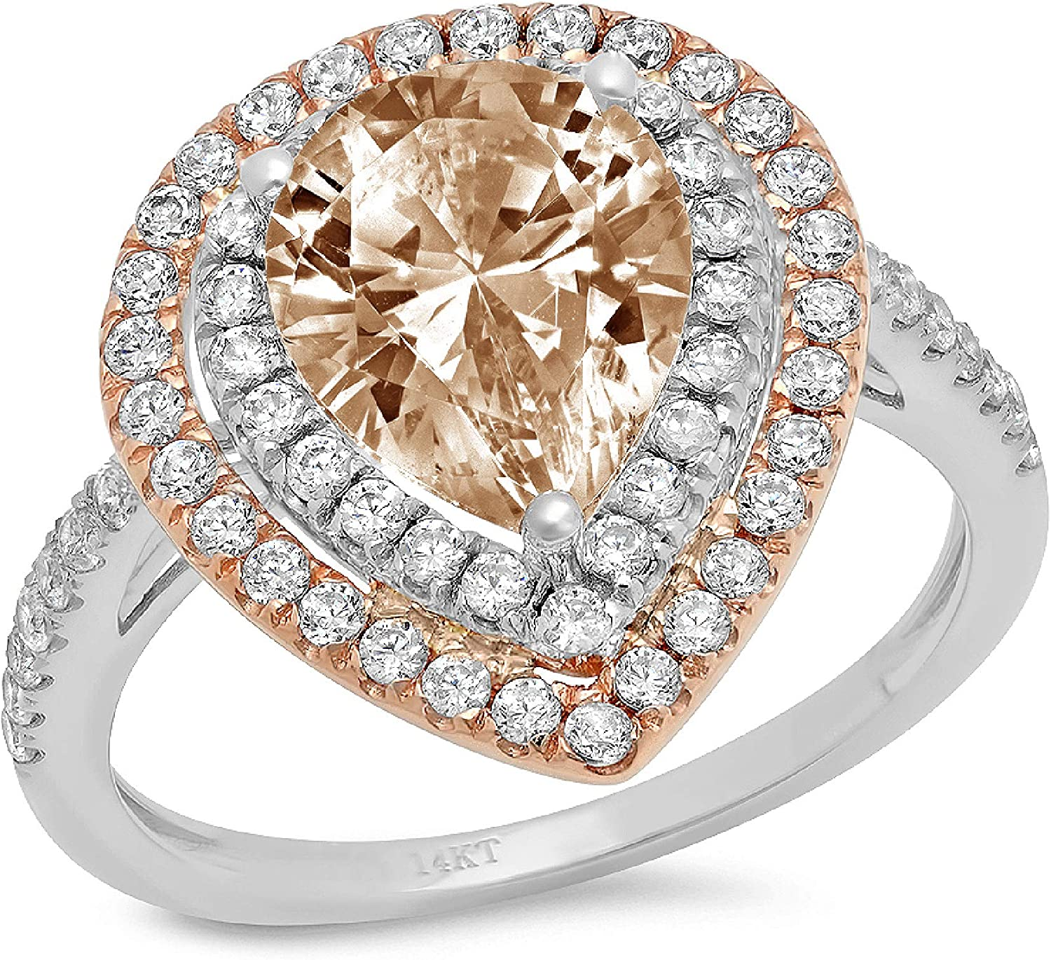2.6ct Pear Cut Double Halo Solitaire with Accent Brown Champagne Ideal VVS1 Simulated Diamond CZ Engagement Promise Statement Anniversary Bridal Wedding Ring Solid 14k 2 tone Gold