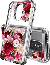 LG Stylo 4 Phone Case,ACKETBOX Heavy Duty Hybrid Impact Defender Shockproof Clear Flofal Design Three Layer Full-Body Protective PC Back Case+Bumper and TPU Cover for LG Stylo 4(Flowers-03)