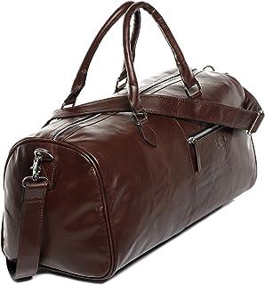 SID & VAIN Weekender echt Leder Zip VORNE groß Sporttasche Reisetasche Laptopfach Ledertasche Unisex 40 cm braun