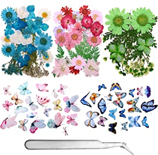 155 Pieces Dried Pressed Flowers and Butterfly Transparent Stickers Set with Tweezers,Natural Dried Flowers for Resin, Art...