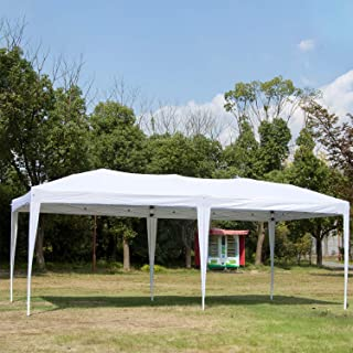 Easyzon 10 x 20FT Pop Up Patio EZ Canopy Tent Heavy Duty Gazebo Pavilion Outdoor Party Commercial Instant Tents Impact Canopies Without Sidewalls, White