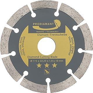PRODIAMANT Disco de corte de diamante 115 mm, para hormigón, piedra, ladrillo, universal, para cortar en seco y húmedo, Dorado