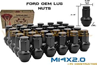 24 Pc Ford M14x2.0 Thread Pitch Black OEM Factory Style Replacement Lug Nuts Fits 2004 2005 2006 2007 2008 2009 2010 2011 2012 2013 2014 Expedition F-150 Raptor