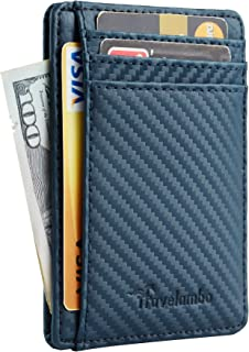 Travelambo Front Pocket Minimalist Leather Slim Wallet RFID Blocking Medium Size