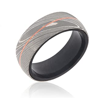damascus steel and copper rings