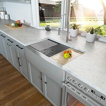 Amazon Com 30 Farmhouse Sink Kichae 30 Inch Kitchen Sink Ledge Workstation Apron Front Single Bowl 18 Gauge Stainless Steel Kitchen Farm Sink Home Improvement