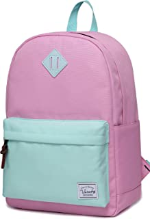 School Backpack,Vaschy Unisex Classic Lightweight Water-Resistant Campus School Rucksack Travel Backpack Black Fits 15.6Inch Lapto Pink Green