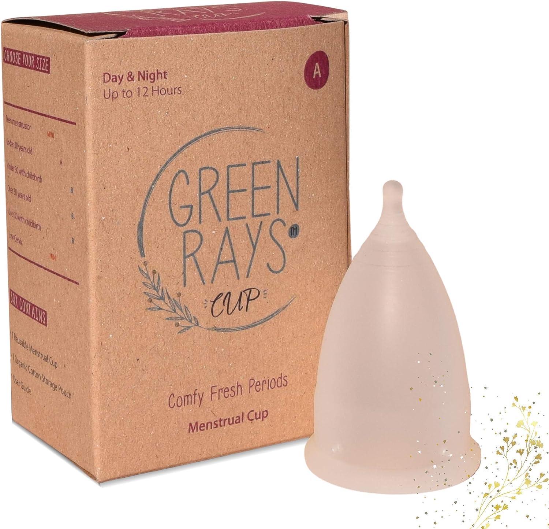 Green Rays Cup Taza menstrual – Fabricado en Estados Unidos – Tamaño A/pequeño, cuello uterino alto, 12 h día y noche, períodos cómodos y frescos