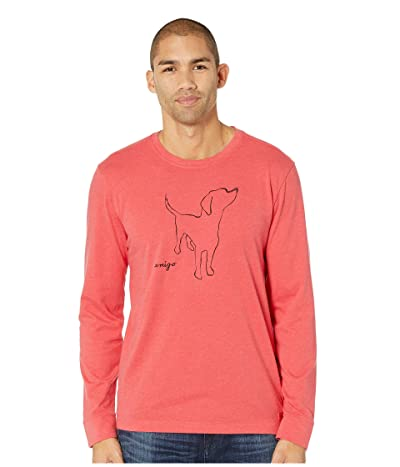 Life is Good Amigo Long Sleeve Crusher T-Shirt (Heather Americana Red) Men
