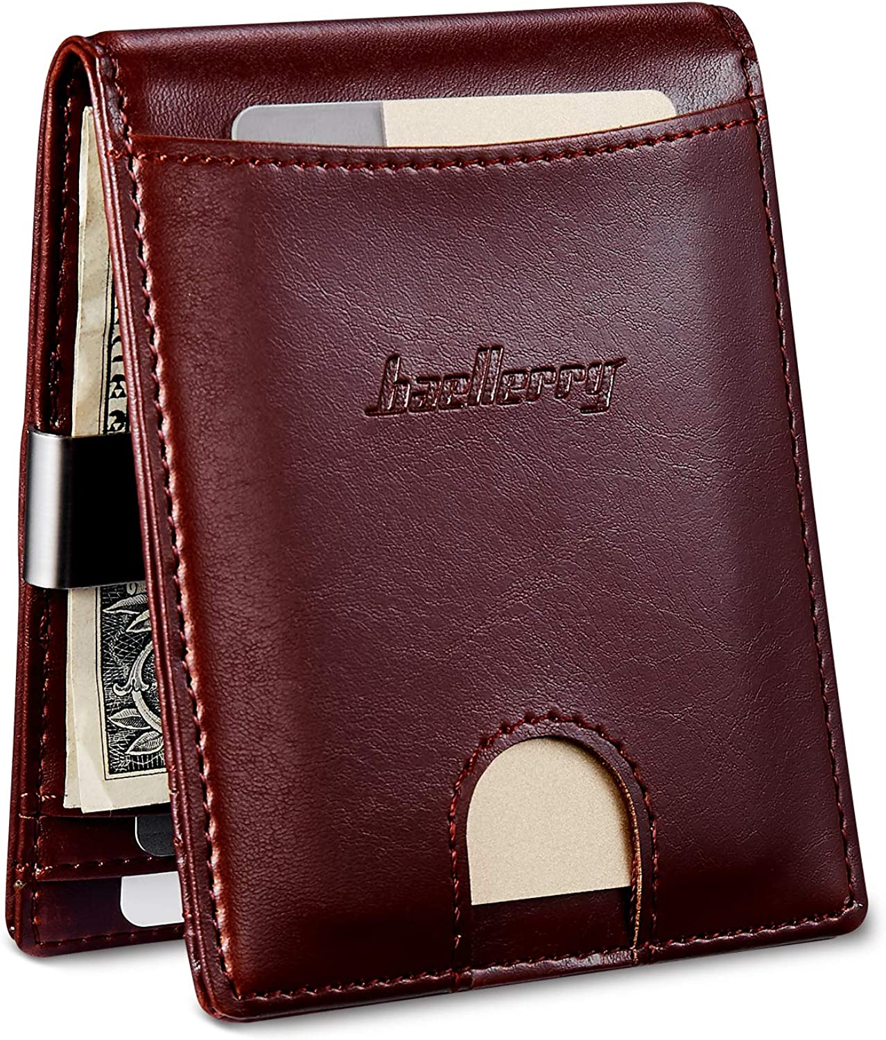 Men's Slim Bifold Money Clip Wallets Vegan Leather Minimalist Front Pocket Wallets For Men with Coin Pouch