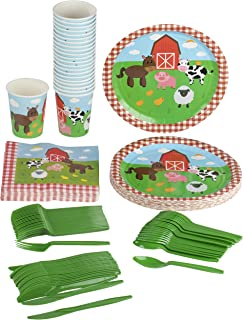Farm Animals Party Supplies – Serves 24 – Includes Plates, Knives, Spoons, Forks, Cups and Napkins. Perfect Barn Animal Party Pack for Kids Barnyard Animal Themed Parties.