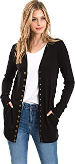 Womens Cozy Snap Button Knit Cardigan with Pockets