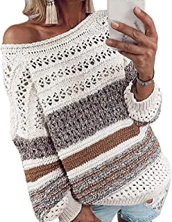 Womens Long Sleeve Knitted Round Neck Warm Hollow Out Pullover Outwear Outwear Sweaters