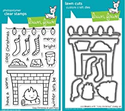 Lawn Fawn Cozy Christmas Clear Stamp and Die Set - Includes One Each of LF334 Stamp & LF965 Die - Bundle Of 2