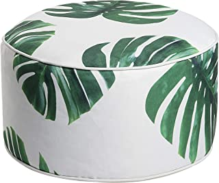 Art Leon Outdoor Inflatable Ottoman Leaf Green Round Patio Footstool for Kids and Adults, Patio, Deck, Front Porch, Backyard, Garden
