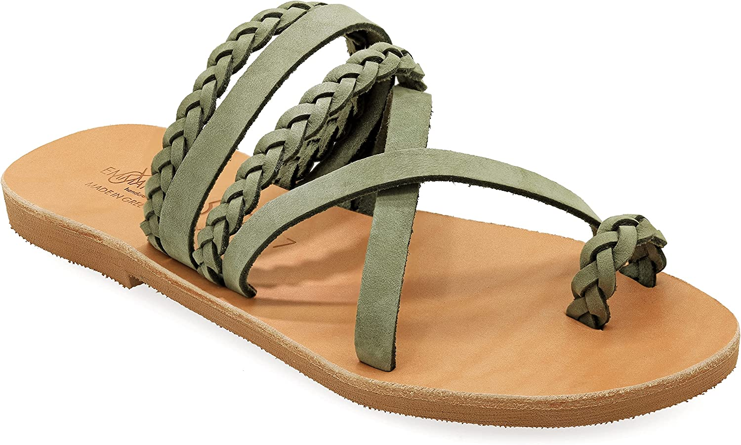 Emmanuela Greek Style Sandals with braided parts, Quality Handmade Leather Toe Ring Flat Sandals, Slide on Summer Shoes for Women, Boho Chic Slider Sandals