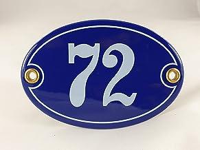 Emaille huisnummerbordje nr. 72, ovaal, blauw-wit Nr. 72 Blau-Weiß