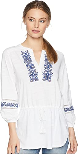 Petite Embroidered Cotton Top