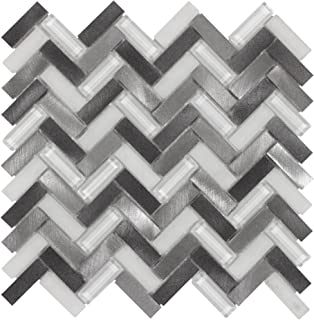 MTO0019 Modern Herringbone Chevron Gray Metallic Glass Metal Mosaic Tile