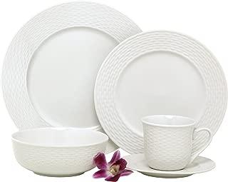 Melange BLY-04W40 40-Piece Porcelain Dinnerware Set (Nantucket Weave) | Service for 8 | Microwave, Dishwasher & Oven Safe | Dinner, Salad Plate, Soup Bowl, (Serving for 8), White