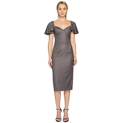 Zac Posen Tropical Wool Flutter Sleeve Dress (Grey Melange) Women