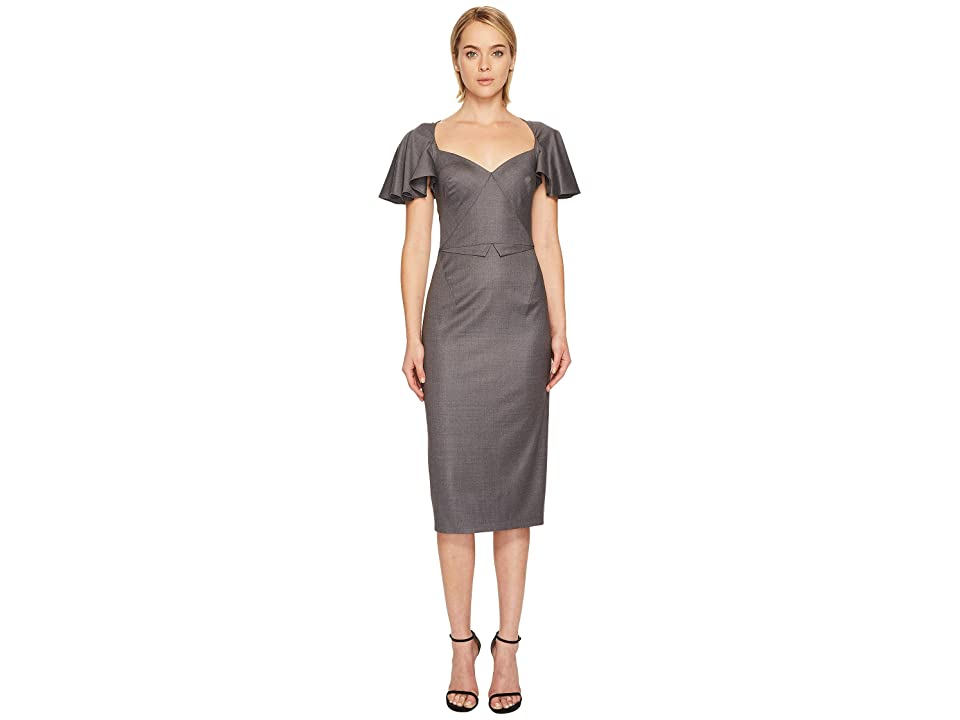 Zac Posen Tropical Wool Flutter Sleeve Dress (Grey Melange) Women