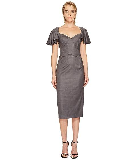 Zac Posen Tropical Wool Flutter Sleeve Dress