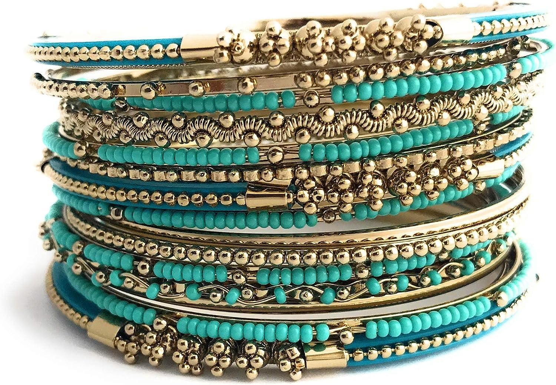 Shop One Twenty Antique Style 16 Piece Seed Bead Multi Color Stackable Indian Bangles Bracelet Set