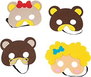 Fun Express Goldie Locks & Three Bears Masks | 4 Count | Great for Costume Parties, Classroom Activities, Kids Storytelling, Art Supplies