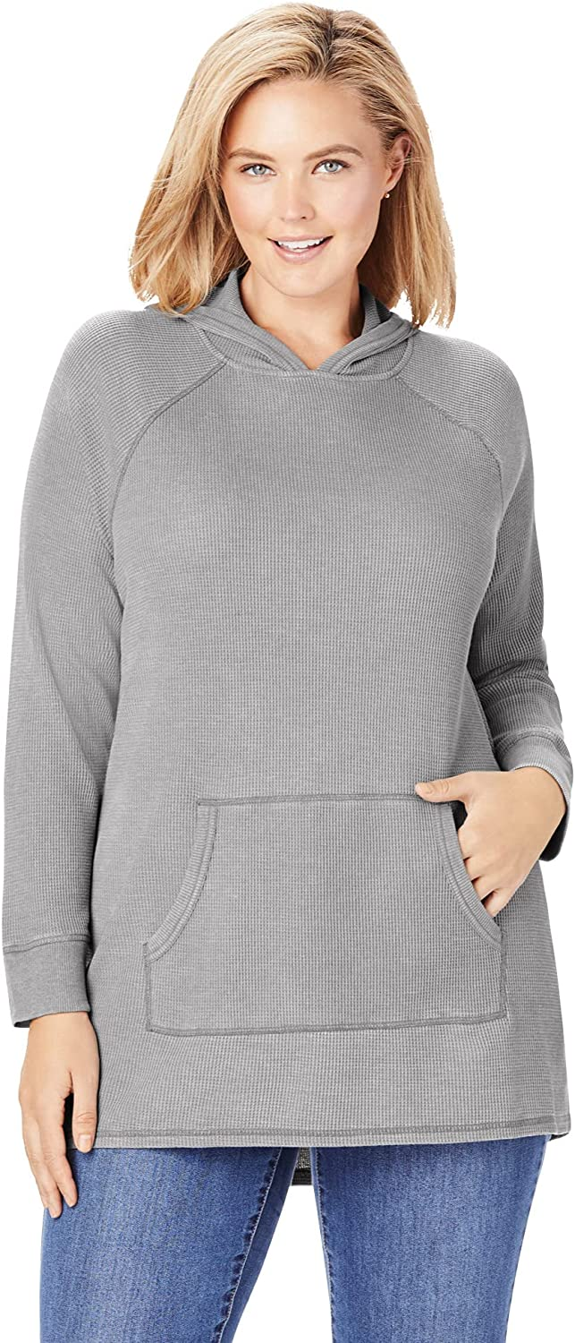 Woman Within Women's Plus Size Washed Thermal Waffle Hooded Sweatshirt