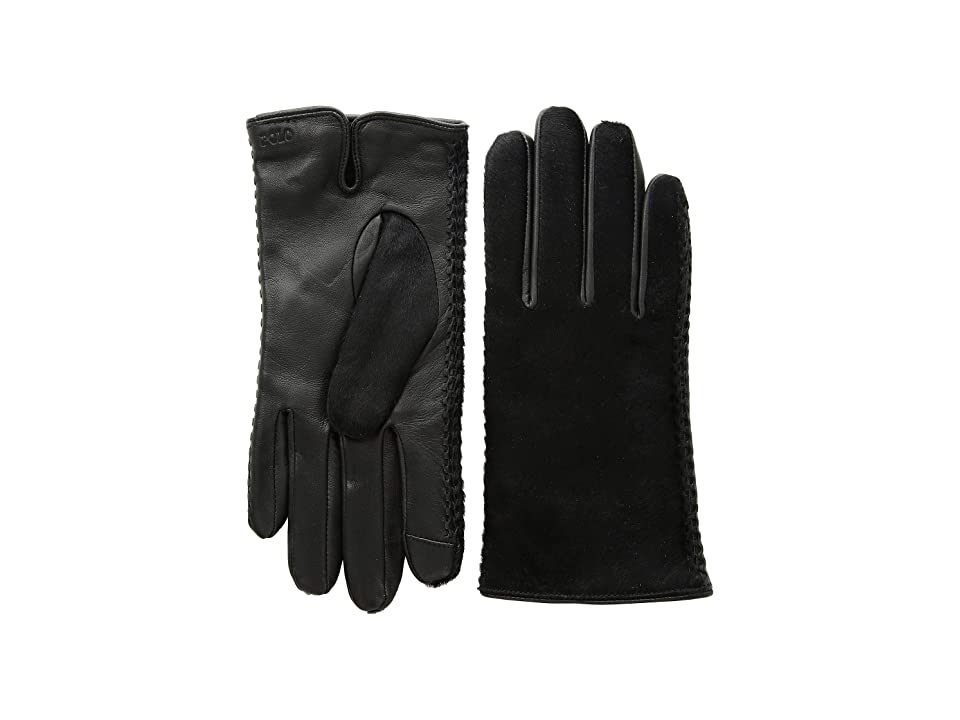 Polo Ralph Lauren Haircalf Gloves (Black) Over-Mits Gloves