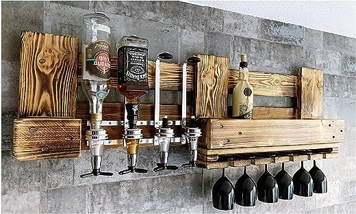 Wandbar Weinregal mit Wunschtext/Namen Getränkespender Terasse Balkon Garten Rustikal Wunschtext Name Whyski Wein Regal Schnaps Palette