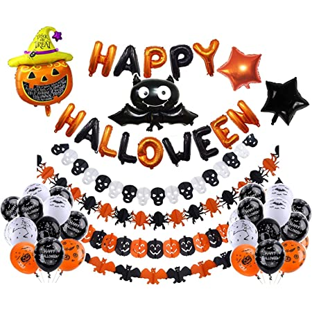 10 Pcs Halloween Party Supplies Decorations Pre-assembled Scary HAPPY HALLOWEEN Banner /& 9 Pcs Black /& Red Blood Ceiling Hanging Swirls for Home Indoor Outdoor Ceiling Haunted Doorway Office Decor