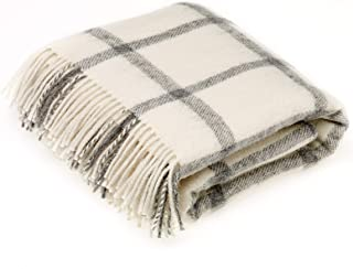 Bronte by Moon Natural Collection - Pure New Wool - Windowpane - Cream - Throw Blanket