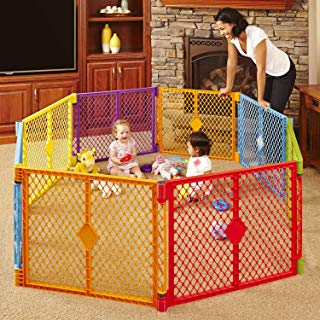 """North States Superyard Colorplay 8-Panel Play Yard: Safe play area anywhere - Folds with carrying strap for easy travel. Freestanding. 34.4 sq. ft. enclosure (26"""" tall, Multicolor)"""