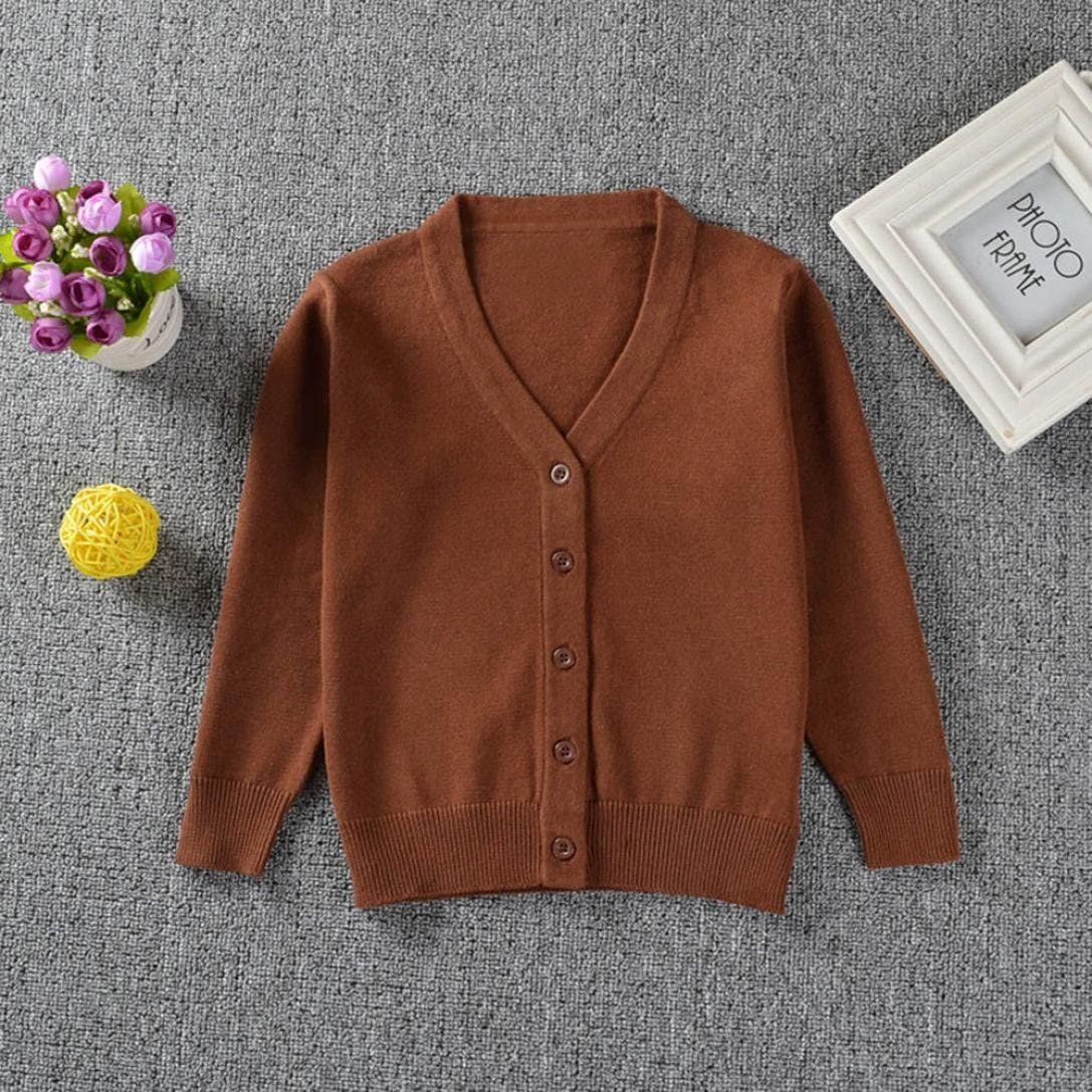 KONFA Baby Boys Girls Solid Color Knitted Cardigan Sweater,Suitable for 0-3 Years Old,Winter Warm Button Pullovers Tops