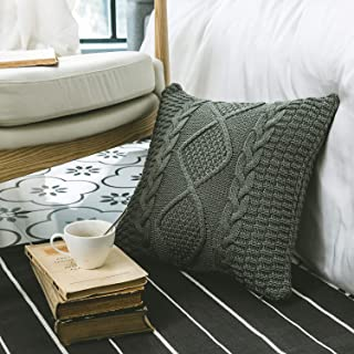 DOKOT Decorative Cotton Knitted Throw Pillow Cover, Square Warm Cushion Case with Cable Knit and Diamond Check Pattern for Home Office Car Sofa, 18 x 18 inch, Gray