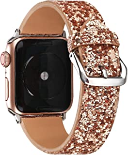 Gsmartive Glitter Band Compatible with Apple Watch Band 38mm 40mm 42mm 44mm,Bling Sparkle Dressy Replacement Strap Compatible for iWatch Series 5,4,3,2,1 Sports & Edition Women (Rose Gold, 42mm/44mm)