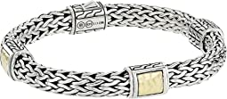Classic Chain 7.5mm Hammered Station Bracelet with 18K Yellow Gold